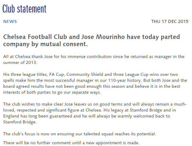 Club statement News Official Site Chelsea Football Club