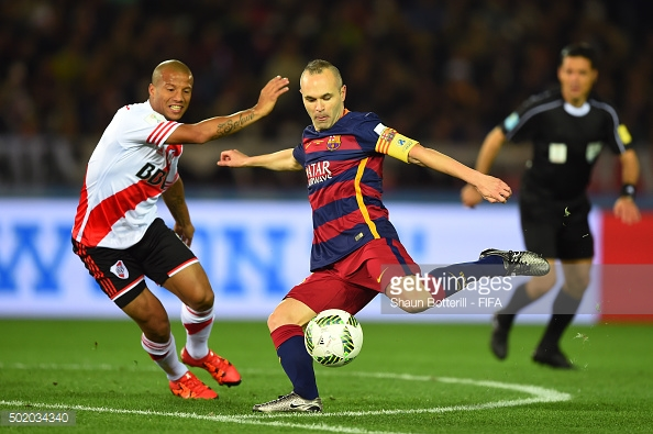 during the FIFA Club World Cup Final between River Plate and FC Barcelona at the International Stadium Yokohama on December 20, 2015 in Yokohama, Japan.