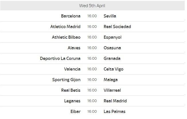 La Liga Fixtures 30