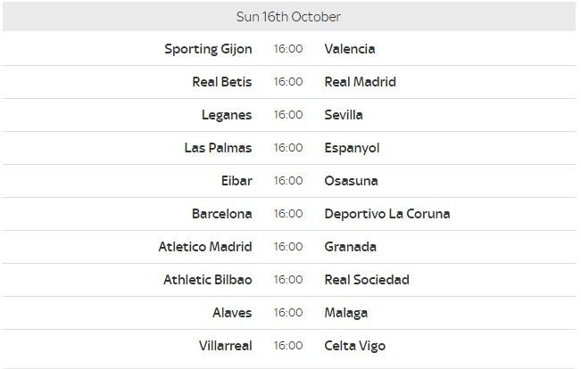 La Liga Fixtures 8