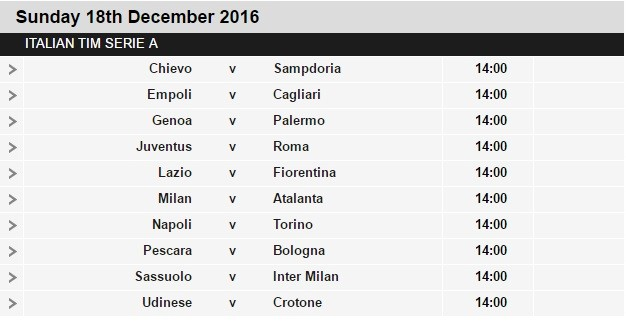 Serie A schedule 17