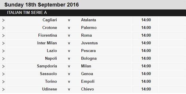 Serie A schedule 4
